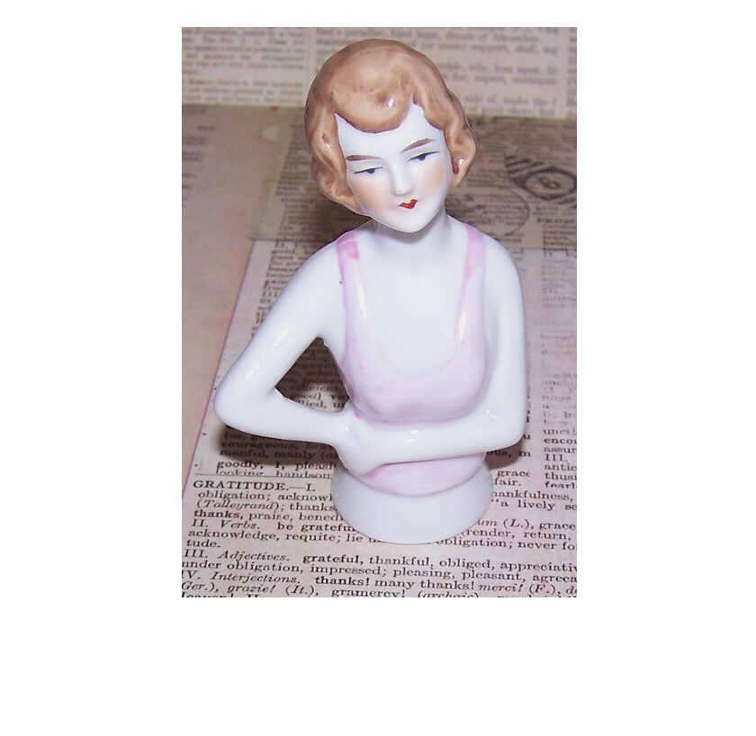 Art Deco GERMAN Porcelain Half Doll - 1/2 Doll - Brunette with Pink Top!