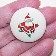 1950s RETRO MODERN Christmas Pin - Santa Claus Celluloid Pin/Pinback!