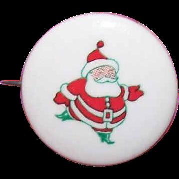 1950s RETRO MODERN Christmas Pin - Santa Claus Celluloid Pin/Pinback!