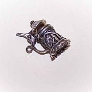 Vintage STERLING SILVER Charm - Mechanical Tankard, Beer Stein!