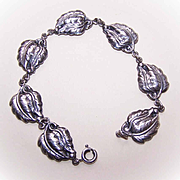 Vintage DANECRAFT Sterling Silver Bracelet - Single Leaf Link!