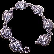 Vintage DANECRAFT Sterling Silver Bracelet - Single Leaf Link!