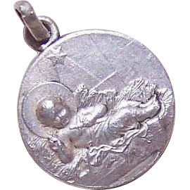 Vintage SILVERPLATE Religious Charm/Medal - Infant Jesus in a Manger!
