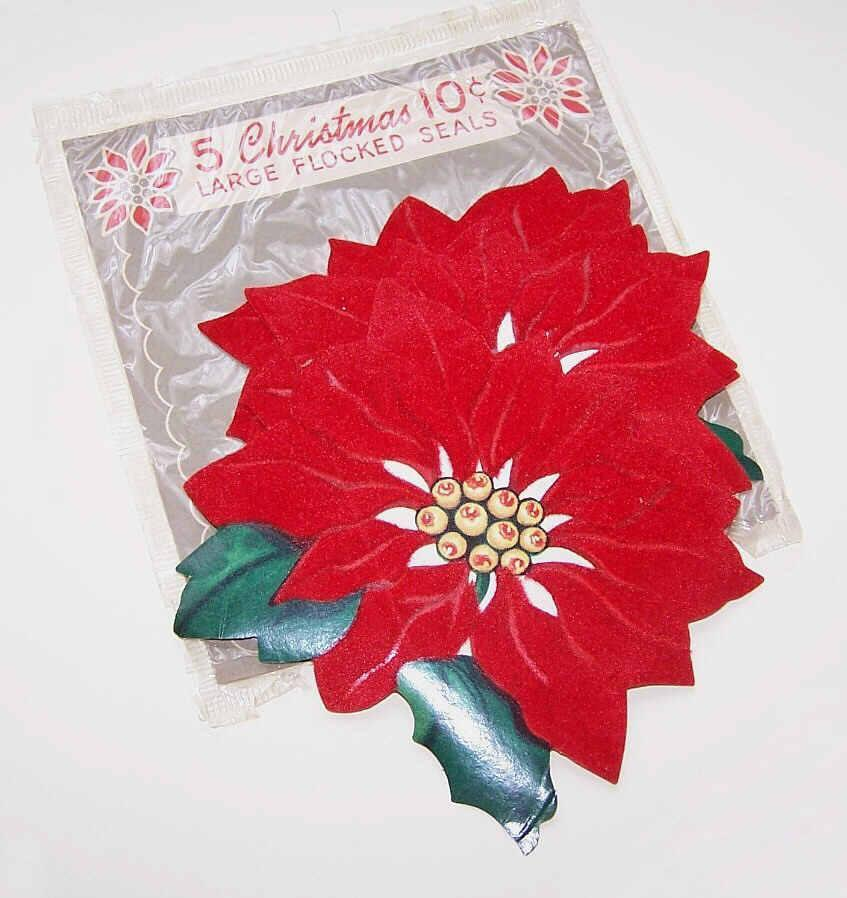 C.1950 Vintage CHRISTMAS SEALS - Large Flocked Red Poinsettias!