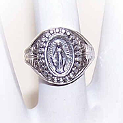 Vintage STERLING SILVER Adjustable Religious Ring - Miraculous Medal/Holy Virgin Mary!