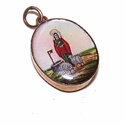 Rare C.1930 FRENCH Eglomise Religious Pendant - Holy Saint Genevieve!