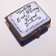 Vintage STAFFORDSHIRE Porcelain Trinket Box - Unto the End, I Love My Friend!