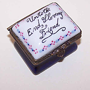 Vintage STAFFORDSHIRE Porcelain Trinket Box - Unto the End, I Love My Friend!