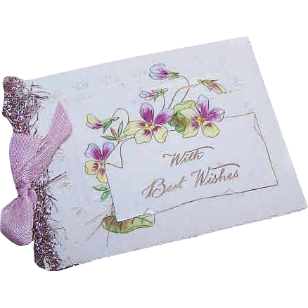 C.1910 Celluloid, Tinsel & Ribbon HAPPY NEW YEAR/Best Wishes Card!
