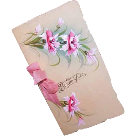 C.1910 FRENCH Celluloid Greeting Card - Bonne Fete/Happy Birthday - Handpainted Florals!