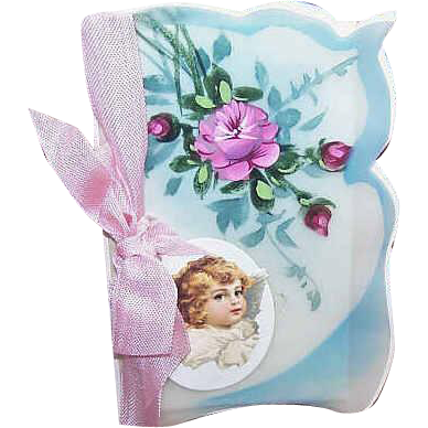 C.1910 FRENCH Celluloid Greeting Card - All Occasion with Handpainted Florals!