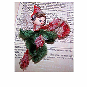 1960s Made in Japan Chenille Pixie CHRISTMAS TREE Ornament!
