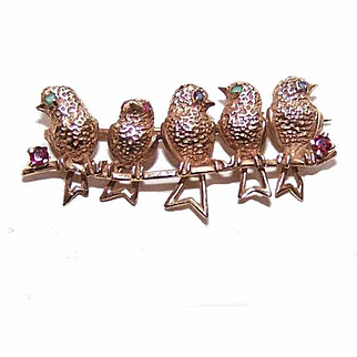 Vintage 14K Gold, Emerald, Sapphire & Ruby Pin/Brooch - 5 Birds on a Branch!