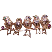 Vintage 14K Gold, Emerald, Sapphire & Ruby Pin/Brooch - 5 Birds on a Branch!