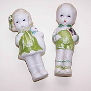 C.1960 Made in Japan Porcelain Dolls - Little Boy & Girl Dressed in Green!