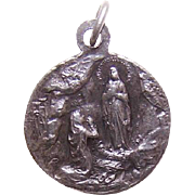 Vintage FRENCH SILVERPLATE Religious Medal - Virgin Mary, Saint Bernadette/Lourdes!