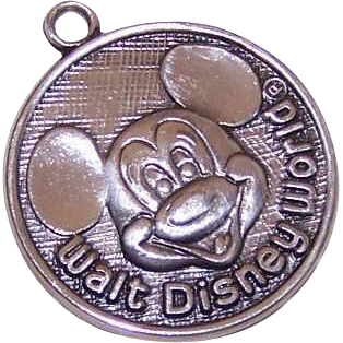 Vintage WALT DISNEY World Sterling Silver Charm - Mickey Mouse Disc!