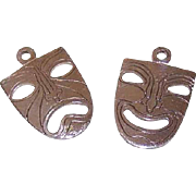Vintage STERLING SILVER Charms - Comedy & Tragedy Theatrical Masks!