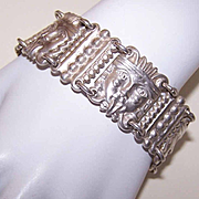 Vintage MEXICAN Sterling Silver Link Bracelet - Tribal God Faces!