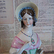 WILLIAM GOEBEL Porcelain Half Doll on Original Pin Cushion - Needs Redecorating!