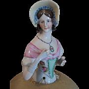 WILLIAM GOEBEL Porcelain Half Doll on Original Pin Cushion - Needs Redecorating!