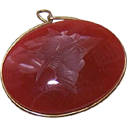 Vintage Gold Filled & GLASS CAMEO Intaglio for Watch Chain!