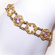Vintage GOLD TONE METAL & Amethyst Paste Link Bracelet - Lovely Open Design!