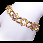 Vintage GOLD TONE METAL & Amethyst Paste Link Bracelet - Lovely Open Design!