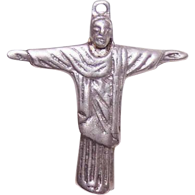 Vintage STERLING SILVER Religious Charm - Christ the Redeemer!