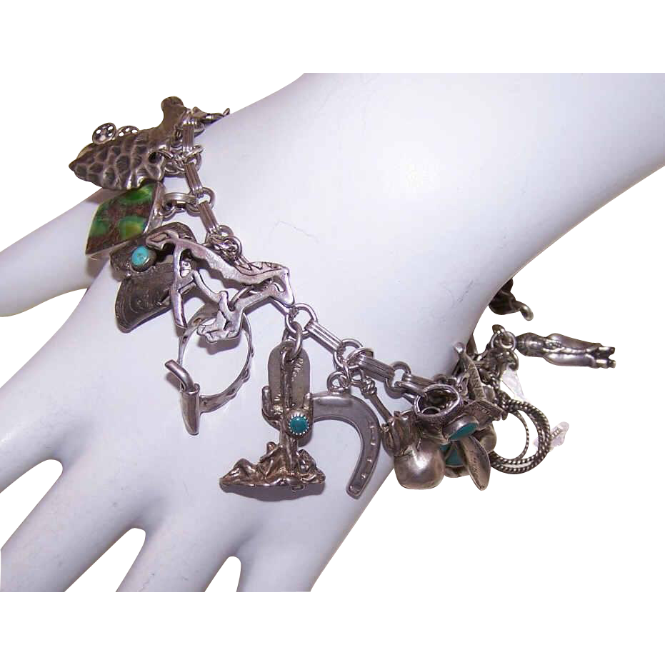 SOUTHWESTERN Styled Sterling Silver & Turquoise Charm Bracelet with 25 Charms