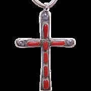 RARE Horace Iule ZUNI Silver & Red Coral Cross Pendant!