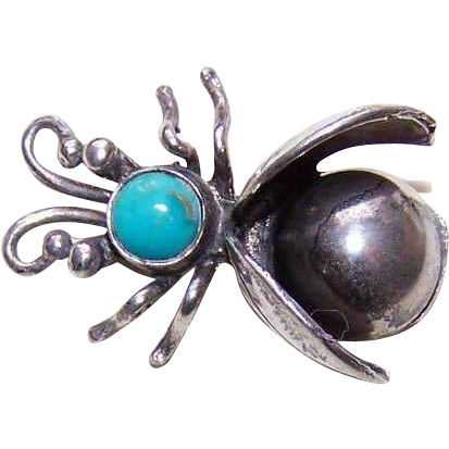 Vintage Sterling Silver & Turquoise Fly Pin/Insect Pin - Native American Design