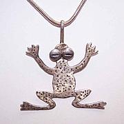 Vintage STERLING SILVER Pendant/Frog Pendant Signed Arruh Sterling!