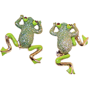 Pair GOLD TONE Metal, Enamel & Rhinestone Scatter Pins - Frogs with Legs That Move!