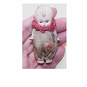 "Adorable MINI Porcelain 2-1/2"" Kewpie Doll w/Moveable Arms & Clown Dress!"