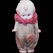 "Adorable MINI Porcelain 2-1/2"" Kewpie Doll w/Moveable Arms & Clown Dress!"