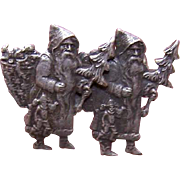 RARE C.1900 French Silverplate Christmas Pin - 2 Pere Noels/Santa Claus Figures!
