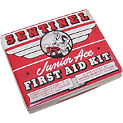 Vintage SENTINEL Junior Ace First Aid Kit - Tin with Great Graphics of Airplanes!