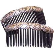 Pair VINTAGE Hair Combs with Native American STERLING SILVER Mounts!