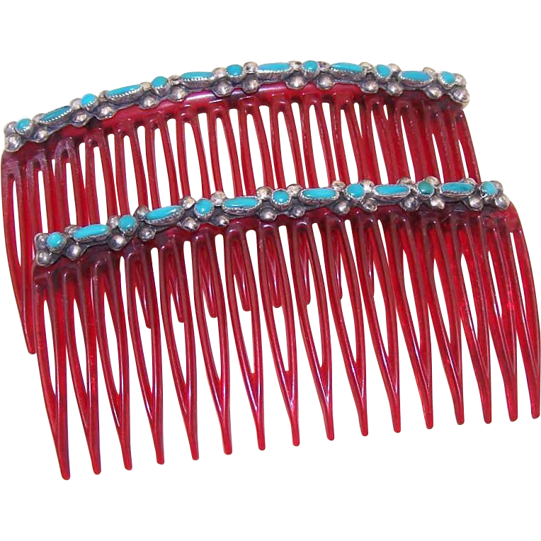 Vintage NATIVE AMERICAN Hair Combs with Sterling Silver & Turquoise Mounts!
