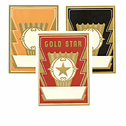 4 ART DECO Paper Labels - Black, Gold & Red (Gold Star)!