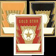 4 ART DECO Paper Labels - Black, Gold & Red (Gold Star)!