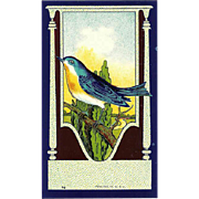 4 Vintage UNUSED Paper Labels Featuring a Blue Bird!
