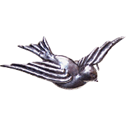 Vintage MEXICO SILVER Pin/Brooch - Swallow/Hirondelle - Bird in Flight!