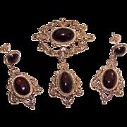 C.1968 English VICTORIAN REVIVAL 9K Gold & 24CT TW Bohemian Garnet Pin, Pendant & Earrings!