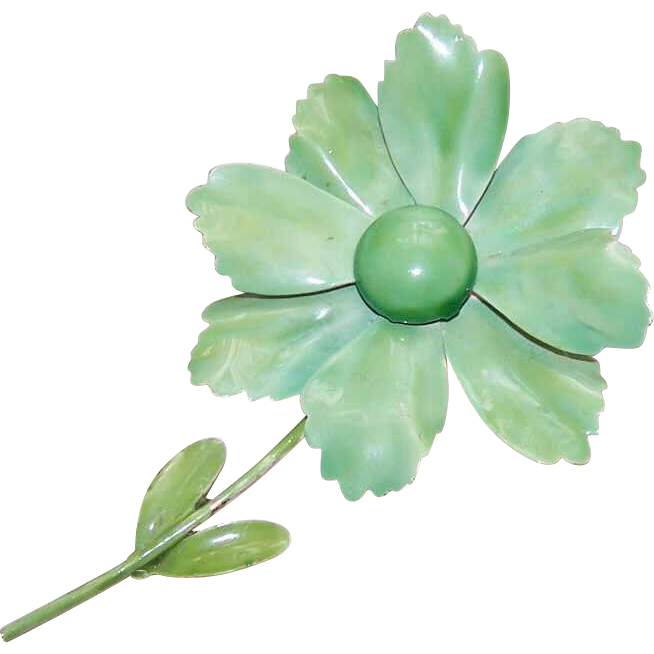 Lg C.1960 Gold Tone Metal & Enamel Floral Pin - It's Not Easy Being Green!