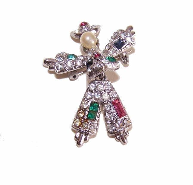 Single VINTAGE CORO Scatter Pin - Articulated Rhinestone Figural Pin!