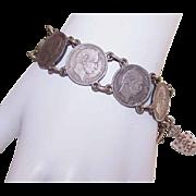 Vintage COIN SILVER Bracelet - Denmark 25 Ore Coins!