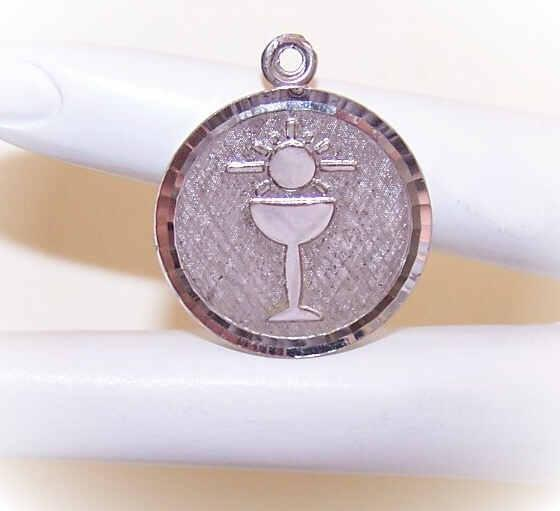 Vintage STERLING SILVER Disc Charm - Religious First Communion/Confirmation Souvenir!