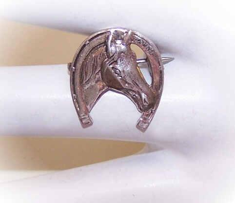 Small VINTAGE Sterling Silver Horse Head/Horseshoe Good Luck Pin!